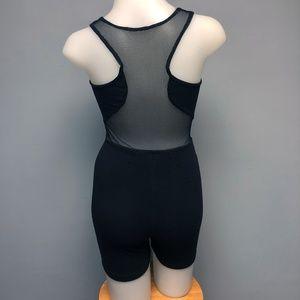 VTG 90s Biker Short Body Suit Romper Mesh Cutouts